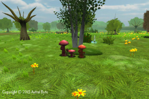 Same three red mushrooms with randomized style